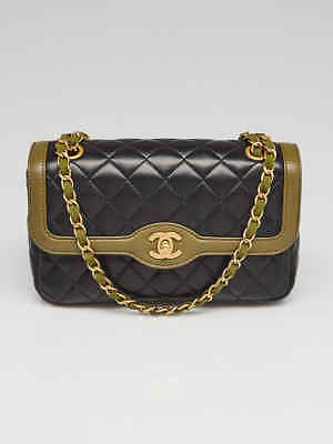 cdb50c81755 Chanel Black Green Quilted Lambskin Leather Small Chain Flap Bag