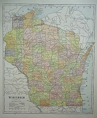 Vintage 1896 WISCONSIN MAP Old Authentic Antique Atlas Map 081518