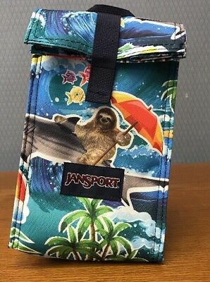 New JANSPORT Roll Top Insulated Lunch Bag Multi Wet SLOTH School Reuse Shark NWT