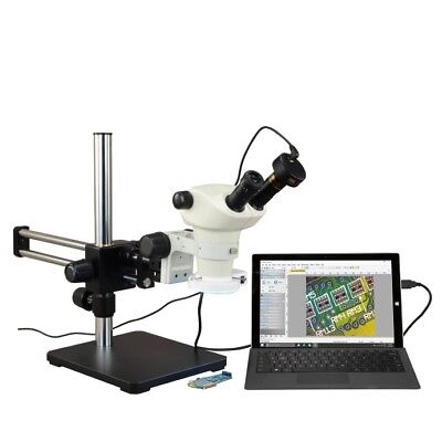 6-50X Stereo Microscope+Boom Stand+54 LED Ring Light+High Resolution 10MP Camera