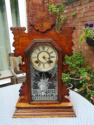 A NICE WORKING ANSONIA GONG STRIKE GINGER BREAD CLOCK c1890  recent service.