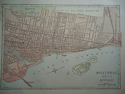 Vintage 1896 MONTREAL, CANADA MAP Old Authentic Antique Atlas Map 081518