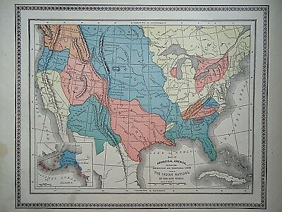 Vintage 1896 ORIGINAL AMERICAN INDIAN NATIONS MAP Old Authentic Antique Map