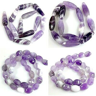 Natural Purple Amethyst Faceted Oval Barrel freeform Nugget Beads Free shipping
