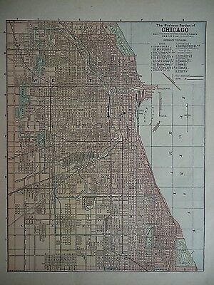 Vintage 1896 CHICAGO, ILLINOIS MAP Old Authentic Antique Atlas Map 081518