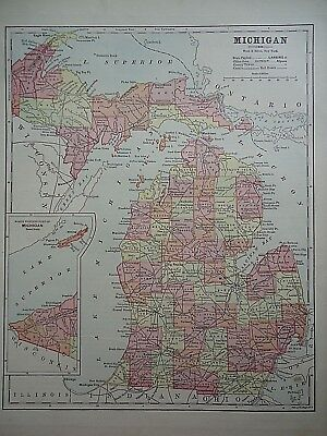 Vintage 1896 MICHIGAN MAP Old Authentic Antique Atlas Map 081518