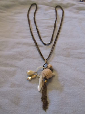 """Tarnished Brass Tone Faux & Real Pearl Pendant Ball Chain Necklace - 44"""" long"""