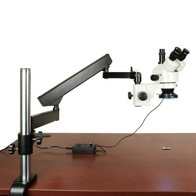 OMAX 7-45X Zoom Trinocular Microscope+Articulating Arm Stand+144 LED Ring Light