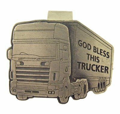 Pewter God Bless This Trucker Big Rig Truck Visor Clip, 2 Inch