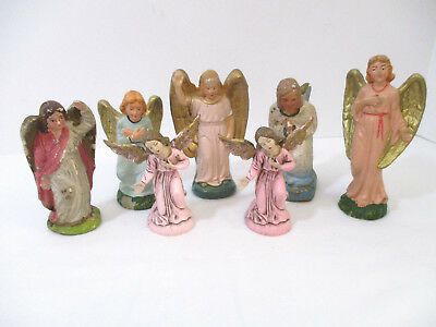 LOT OF 7-Vintage Nativity Christmas Angel Figurines -MIXED MATERIALS-JAPAN-ITALY