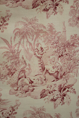 Antique French fabric pink mauve tennis toile cretonne fabric upholstery 1880