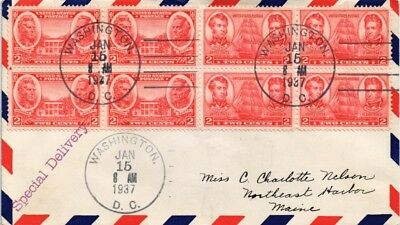 Dr Jim Stamps Us Special Delivery Air Mail Cover Washington Dc 1937 Backstamp