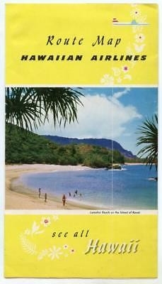 Vintage 1950s Hawaiian Airlines Route Map Honolulu Hawaii HAL