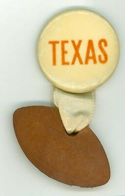 Vintage 1920s-30s University Of Texas Football Booster Pinback Button w/Leather