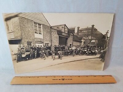 "1920's Orig 7"" x 11"" Photo Group Motorcycles In Front British Fordson Dealer NR"