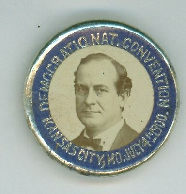 Vintage 1900 William Jennings Bryan DNC Kansas Cty Political Camp Pinback Button