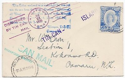 1936 Tonga Tin Can Mail Cover - Many Different Cachets - Niuafoou Postmark To Nz