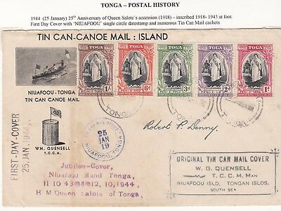 1944 Tonga Tin Can Mail Queen Salote Jubilee 15 Different Cachets To R P Denny