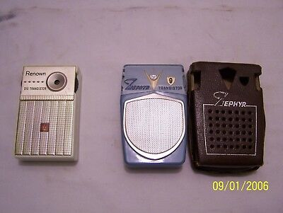 Two VTG. 1960's RENOWN & ZEPHYR Portable Hand Transistor Battery Radio's Working