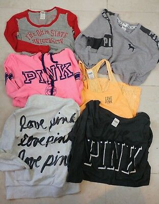 Lot's of 6 Victoria Secret Pink Size M Shirts Sweatshirts love