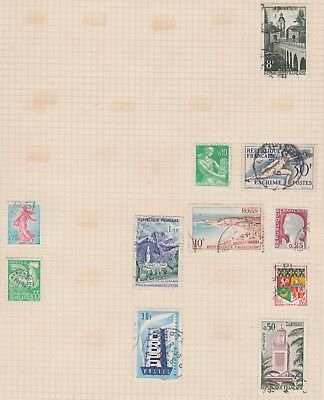 FRANCE Collection Fencing, Tlemcen, Rooster, etc on Old Page, As Per Scan USED #