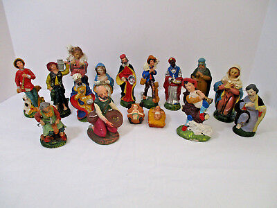LOT OF 16-Vintage Nativity Christmas  Figurines Paper Mache Composition
