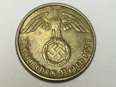 GERMANY THIRD REICH 1937-A 5 Pfennig  coin very nice condition