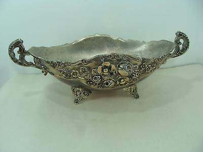 """Vintage Ornate Footed Oval Silver Plated Bowl  12"""" Wide 4"""" Tall With Handles"""