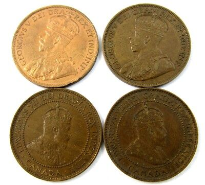 4 High Grade Canada Large Cents of George V -1907-1917- XF to BU