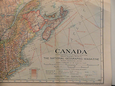 Vintage 1936 National Geographic Map Of Canada