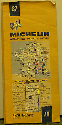 1973 Michelin Road Map #87 from Wissembourg to Belfort, France