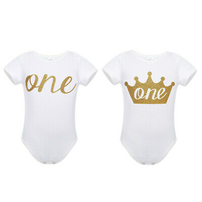 c5a07f10799c9 Formal Shirt Baby Boy Girl 1st First Birthday Romper Party Bodysuit Cloth  Outfit