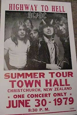 ACDC AC/DC 1979 70s CONCERT TOUR  POSTER BON SCOTT HIGHWAY to HELL New Zealand