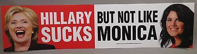 WHOLESALE LOT OF 10 HILLARY SUCKS BUT NOT LIKE MONICA STICKER Clinton Trump 2020