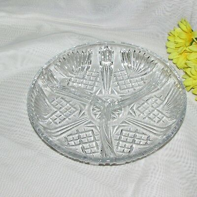 """Beautiful Crystal Clear Glass Divided Dish Italy 7 1/2"""" Round Pickle Relish Tray"""