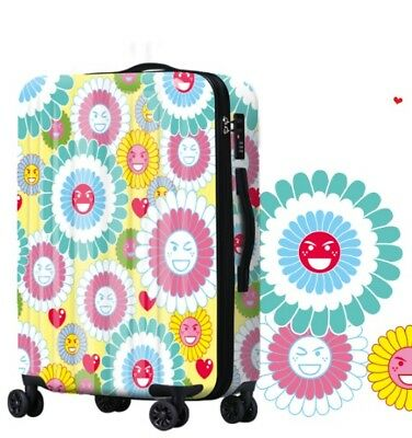 E547 Lock Universal Wheel Multicolor Flowers Travel Suitcase Luggage 20 Inches W