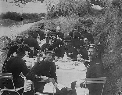 French Army officers dining outdoors near haystack 1914 World War I 8x10 Photo