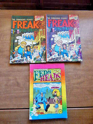 3 Underground comics-FREAK BROTHERS  & FEDS 'n' HEADS-Gilbert Shelton