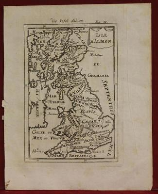 Ancient United Kingdom 1719 Alain Manesson Mallet Antique Copper Engraved Map