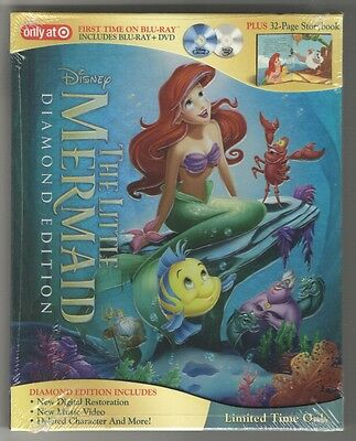 Disney's THE LITTLE MERMAID [TARGET Blu-ray+DVD Diamond Ed Digibook 2013] NEW!