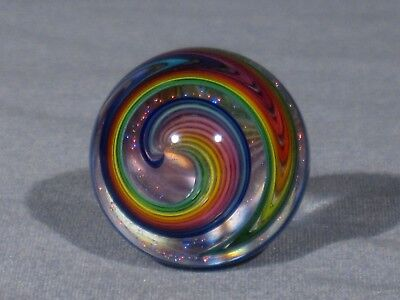 "Marbles: Hand Made Art Glass Alloway Dichroic ""Portland Rainbow""#20   1.16inch"