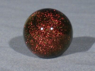 "Marbles: Hand Made Art Glass Alloway Dichroic Red ""Stardust""#319   1.14inch"