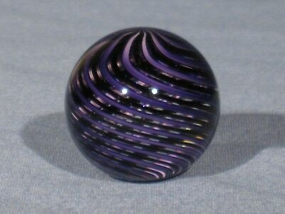 Marbles: Hand Made Art Glass Alloway Dichroic Black and Purple#2640   1.14inch