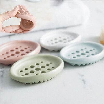 Flexible Bathroom Silicone Soap Dish Storage Holder Soapbox Plate Tray Drain LG