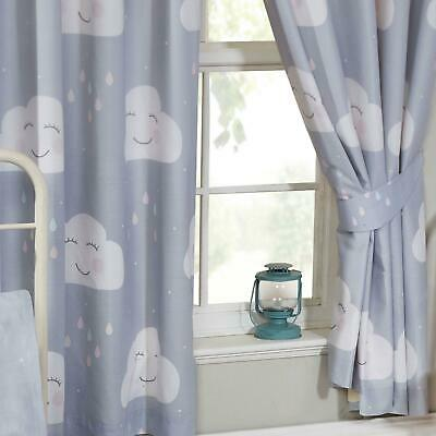 HAPPY CLOUDS GREY LINED CURTAINS KIDS BEDROOM 66in x 54in (168cm x 137cm)