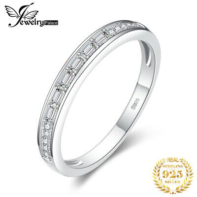 JewelryPalace Cubic Zirconia Channel Set Wedding Band 925 Sterling Silver Ring