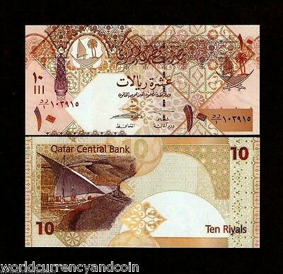 Qatar 10 Riyals P30 2008 *replacement* Boat Falcon Unc Gulf Currency Money Note