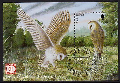 Jersey 2001 Birds of Prey min. sheet with Exhibition ovpt. very fine used