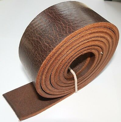 "Italian Leather Belt Blank Veg Tan 3.5Mm Thick Dark Brown Grainy 57"" -145Cm Long"