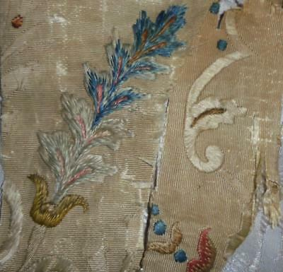 SUMMER CLEAROUT, 2 FRAGMENTS 18th CENTURY SILK EMBROIDERY c1750, REF, 114.